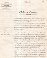 CHEMIN DE FER D'ORLEANS A CHALONS ORDRE DE SERVICE  1872 - Francia
