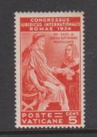 Vatican City S 41 1935 Juridical Congress,5c Orange, Mint Hinged - Vatican