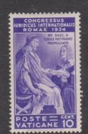 Vatican City S 42 1935 Juridical Congress,10c Violet, Mint Hinged - Vatican
