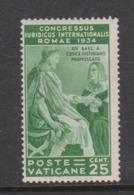Vatican City S 43 1935 Juridical Congress,25c Green, Mint Hinged - Vatican
