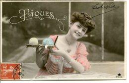 Fantaisies De Pâques - Lot De 4 Jolies CPA - Oiseaux Et Fleurs, Panier D'œufs, Voilier - Voir Les Scans Recto Et Verso - Pasqua