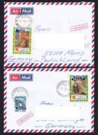 Laos 2014 2 X Airmail Laos To Germany Overprint 22.7.2014 - Laos