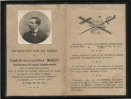 Paul Hubert Tombé Au Champ D'honneur En Argonne 16 Février 1915  Sous Lieutenant 33e RIC  Faire Part De Déces - War 1914-18