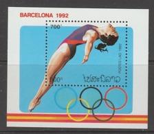 BLOC NEUF DU LAOS - PLONGEON FEMININ (JEUX OLYMPIQUES DE BARCELONE) N° Y&T 119 - High Diving