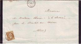 N° 21 Obl Cachet à Date De SOUVIGNY Allier Lettre Faire Part 20 Decembre 1863 - Marcophilie (Lettres)