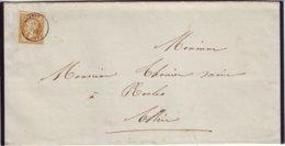 N° 21 Obl Cachet à Date De MONTET Allier Lettre Faire Part 31 Mai 1863 - Marcophilie (Lettres)