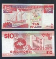 1 Pc. SINGAPORE 10 DOLLAR $10 SHIP SERIES BANKNOTE By Mr Richard Hu Tsu Tau (#140) AU - Singapore