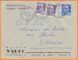 """Enveloppe Seule Pub De PLOERMEL  Morbihan  """" Charbons-Engrais..."""" Le 3 1 1953   Cachet Manuel Pour VANNES - Werbung"""