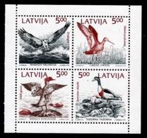 FEUILLET NEUF DE LETTONIE - OISEAUX RIVERAINS DE LA BALTIQUE (EMISSION CONJOINTE) N° Y&T 304 A 307 - Collections, Lots & Series