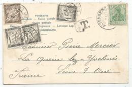 TAXE 1C NOIRX3+ 10C LA QUEUE LES YVELINES 1903 CARTE  COL VOSGES OBL GERMANIA 5C ALTERNBERG - Storia Postale