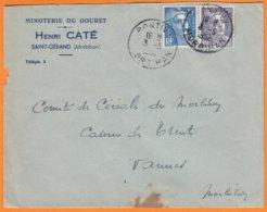 """Enveloppe Seule Pub De SAINT-GERAND  Morbihan  """" Minoterie Du Gouret...""""  Le 3 5 1952 Cachet  De PONTIVY Pour VANNES - Publicités"""