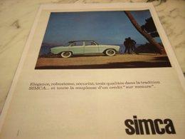 ANCIENNE PUBLICITE ELEGANCE  SIMCA  FIAT 1961 - Cars