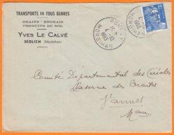 """Enveloppe Seule Pub De SEGLIEN Morbihan  """" Grains-Engrais...""""  Le 4 10 1953 Cachet Manuel De PONTIVY Pour VANNES - Publicités"""