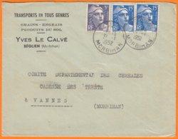 """Enveloppe Seule Pub De SEGLIEN Morbihan  """" Transports-Grains-Engrais...""""  Le 31 1 1952 Cachet Manuel   Pour VANNES - Publicités"""