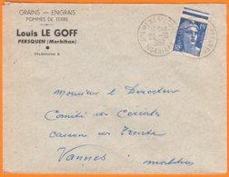 """Enveloppe Seule Pub De PERSQUEN Morbihan """" Grains-Engrais..."""" Le 22 10 1952 Cachet Manuel De GUEMENE  Pour VANNES - Werbung"""