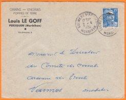 """Enveloppe Seule Pub De PERSQUEN Morbihan """" Grains-Engrais..."""" Le 2 4 1952 Cachet Manuel De GUEMENE  Pour VANNES - Werbung"""