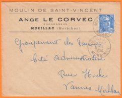 """Enveloppe Seule Pub De MUZILLAC Morbihan """" Moulin De Saint-Vincent..."""" Le 9 6 1952 Cachet Manuel Pour VANNES - Werbung"""