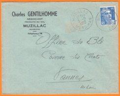 """Enveloppe Seule Pub De MUZILLAC Morbihan  """" NEGOCIANT Produits Du Sol..."""" Le 5 5 1952 Cachet Manuel Pour VANNES - Werbung"""
