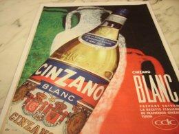 ANCIENNE PUBLICITE ON VIT MIEUX CINZANO BLANC 1961 - Alcohols