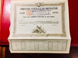 COMPAGNIE  GÉNÉRALE  De  NAVIGATION  --------Certificat  Nominatif  D' Actions - Navy