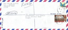 Guyana 1989 Reliance Easter Overprint $5 On 6c Scott 2050a Butterfly $7.65 On 40c Registered Cover - Guyana (1966-...)
