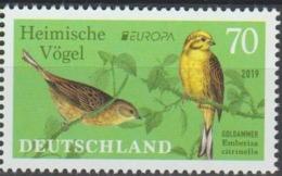 Germany -  Deutschland -Allemagne  2019 Europa CEPT -  Birds -Yellowhammer-Goldammer  Set 1 Val.  MNH** - 2019