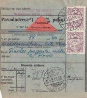 LETTONIE 1938 COLIS POSTAL CONTRE REMBOURSEMENT  DE RIGA - Lettonie