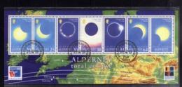 ALDERNEY 1999 TOTAL ECLIPSE ECLISSI TOTALE BLOCK SHEET BLOCCO FOGLIETTO FIRST DAY SPECIAL CANCEL FDC - Alderney