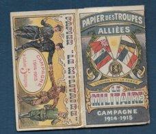 """Etui De Papier à Cigarette - Papier Des Troupes Alliées """" Le Militaire """" Campagne 1914 - 1915 ( Rareté ) - Equipement"""
