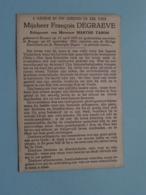 DP François DEGRAEVE ( Marthe TAHON ) Brussel 13 April 1895 - Brugge 23 Sept 1962 ( Zie Foto's ) ! - Overlijden