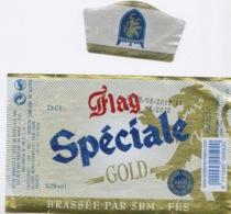 MAROC - ETIQUETTE DE BIERE MAROCAINE - FLAG SPECIALE GOLD - BEER BEAR - BRASSEE PAR SBM A FES 5,2 % - Bier
