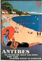 Publicite - Antibes - Sa Plage De Juan Les Pins - Son Cap - Station D'été Et D'hiver - Par Roger Broders - Reproduction - Publicité