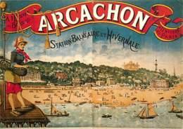 Publicite - Arcachon - Station Balnéaire Et Hivernale - Reproduction D'Affiche Publicitaire - Voir Scans Recto-Verso - Publicité