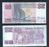 1 Pc. Of Singapore $2 Tong Kang / Ship Series Currency Paper Money Banknote (#137A) AU - Singapore