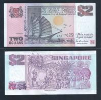 1 Pc. Of Singapore $2 Tong Kang / Ship Series Currency Paper Money Banknote (#137B) AU - Singapore