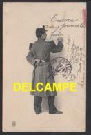 DD / MILITARIA / HUMORISTIQUES SUR LE THÈME DE LA QUILLE : ENCORE QUELQUES JOURS ... + DESSIN DE L' EXPÉDITEUR / 1905 - Humour