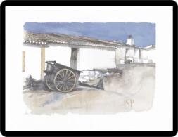 Reproduction D'une Aquarelle Maison Traditionnelle Reproduction Of Watercolor Reproduktion Aquarells Casa Tradizionale - Aquarel