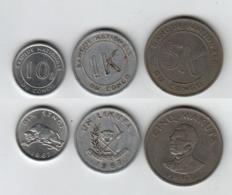 CONGO Dix Sengi + Un Likuta + Cinq Makuta 1967 10s + 1K + 5K - Congo (République 1960)