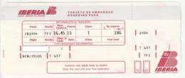 BOARDING PASS - CARTAO EMBARQUE - TARJETA EMBARQUE - IBERIA - 1992 - Tiquetes Aéreos