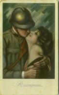 NANNI SIGNED WWI POSTCARD - SOLDIER KISSING WOMAN - RICOMPENSA - N. 26C (BG519) - Nanni