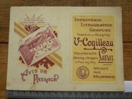 (53) Mayenne, Carte Commerciale, Avis De Passage, Impr. Conilleau, 24 Rue De L'Hôtel De Ville, 3 Place Des Arts LAVAL - Laval