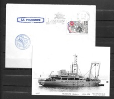 Gabare LA PRUDENTE -Flamme LANDERNEAU 02/01/92 + Carte Neuve - Marcophilie (Lettres)