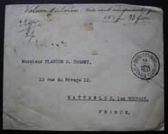 Belgique 1931 Lettre Avec Valeur Déclarée De Bruxelles Pour Wattrelos (France), Timbres Au Revers, Voir Photos - Belgique