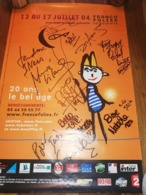 Affiche Concert 2004 Au Franco Folies La Rochelle Avec 10 Autographes (corneille Passi Diam's Etc) - Autógrafos