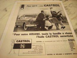 ANCIENNE PUBLICITE ARIANE  ET  FEU VERT AVEC CASTROL 1961 - Other