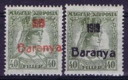 Hungary Baranya Michel 38 Red And Black  MH/* Flz/ Charniere - Baranya