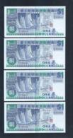 Banknote - Singapore $1 Ship Series 4 Runs Number B/16-333545-548 (#133) XF - Singapore