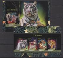 DJ75 2016 DJIBOUTI FAUNA ANIMALS WILD CATS TIGERS TIGRES KB+BL MNH - Big Cats (cats Of Prey)