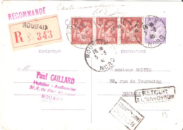 Affranchissement Divers Sur Carte Postale Recommandée Oblitéré ROUBAIX Dateur A4 - Postmark Collection (Covers)