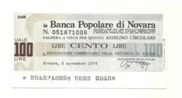 1976 - Italia - Banca Popolare Di Novara - Associazione Commercianti Della Provincia Di Novara - [10] Scheck Und Mini-Scheck